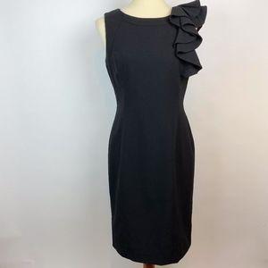 Calvin Klein Black Sheath Dress Ruffle Size 8